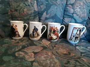 Norman-Rockwell-Cups-Mugs-Vintage-1985-Set-of-4