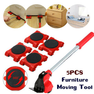 5pcs Heavy Duty Furniture Shifter Lifter//4 Remover Roller Wheels Moving Removal