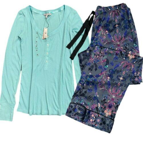 Details about  /Victorias Secret Pajama Set Long Sleeve Henley Top Turquoise Floral Satin Pants
