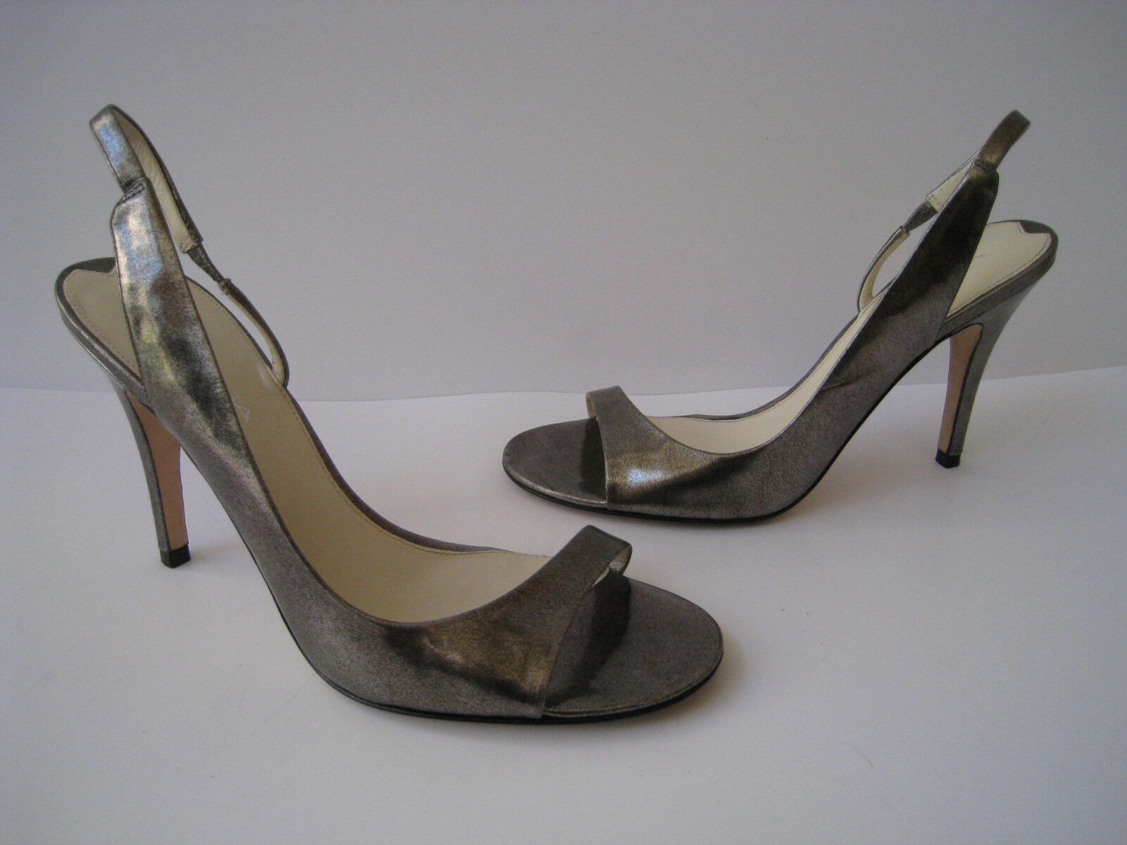 VIA SPIGA METALLIC PEWTER SANDAL STILETTO 4 HEELS femmes Taille US 8.5 SUPER HOT