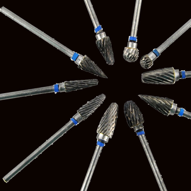 10 types Tungsten Steel Dental Burs Lab Tooth Drill 2.35mm For Polish handpiece