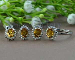 925-Solid-Silver-Oval-Natural-Citrine-Gemstone-Ring-Earring-Pendant-Jewelry-Set