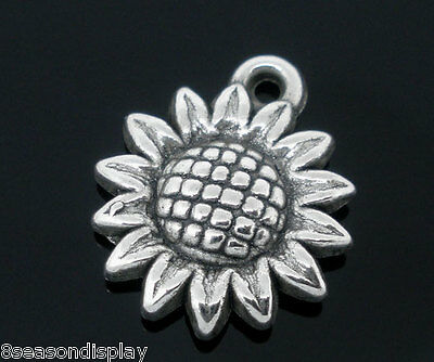 100 Silver Tone Sunflowers Charm Pendants 19x16mm