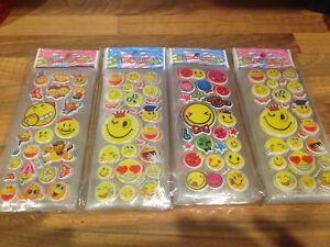 Image Is Loading 10 X EMOJI Sticker Strips Party Bag Fillers