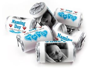 Personalised-Mini-Love-Heart-Sweets-for-Naming-Day-Boy-Silver-Foils-your-Image