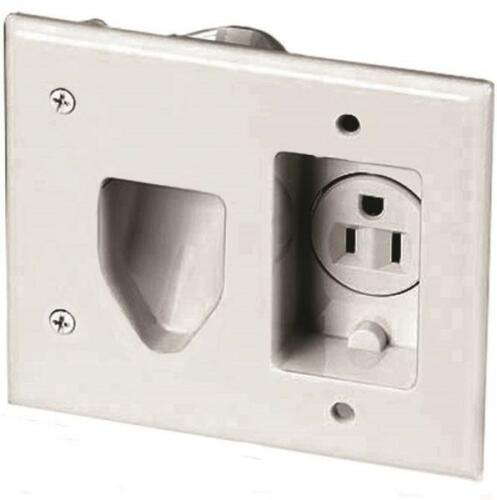 Wh Eaton 35MRW-SP-L Recessed Multimedia Cable Wall Plate with Single Receptacle