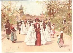 LARGE VINTAGE LUIGI LOIR FRENCH ART CARD FOR AU BON MARCHE GIRLS IST COMMUNION