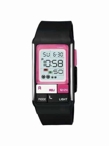 1 of 1 - LDF-52-1A Black Poptone Resin Band Casio Ladies Watch 50m Day Date World Time