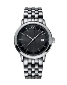 88 RUE DU RHONE 87WA130011 Mens Stainless Steel Watch Black Dial New in Box