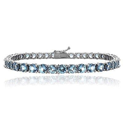 "925 Silver 12.9ct Swiss Blue Topaz Round Tennis Bracelet, 7.5"""
