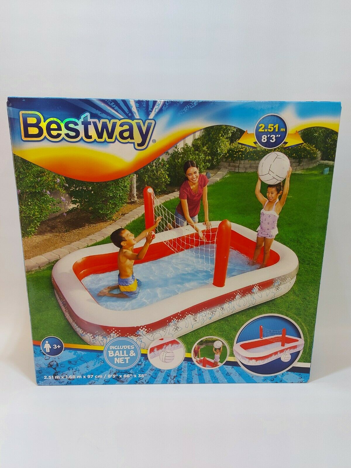 Bestway Inflate-A-Volley Pool, Includes Ball & Net. Pool Size - 100
