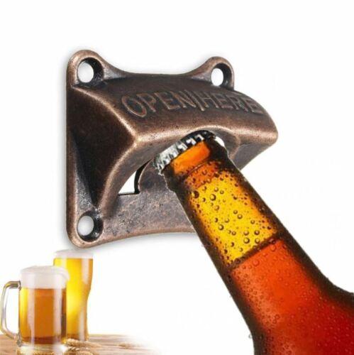 Beer Wall Bottle Opener Mount Iron Cast Soda Bar Mounted Open Vintage Cap Remove
