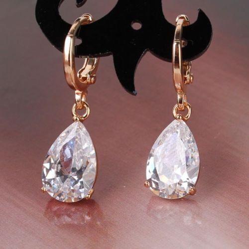 Wonderful bling bling white sapphire 18k gold filled modish dangle earring New
