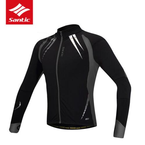 Santic Mens Cycling Bike Jersey Long Sleeve Autumn Fleece Thermal Sports Jacket