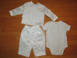 Keepsake-Vested-White-Christening-Set-Outfit-Baby-Boys-Size-9-12-Months