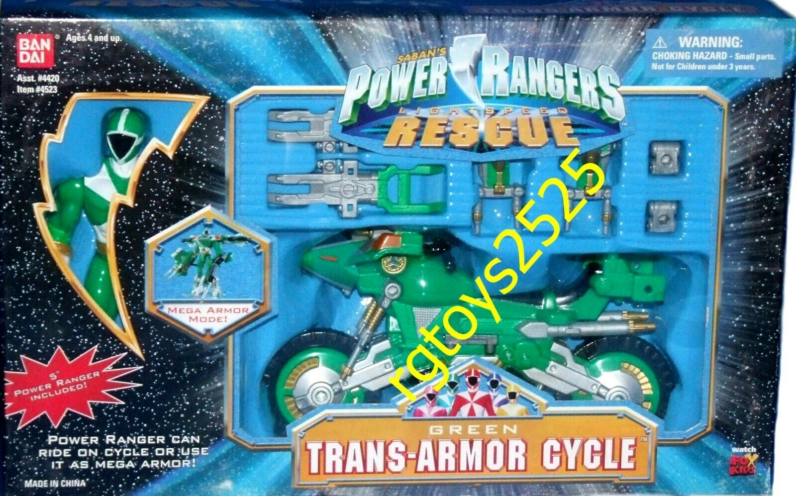 Power Rangers Lightspeed Lightspeed Lightspeed Rescue Trans Armor Cycle 5  Green Ranger Factory Sealed 65d658