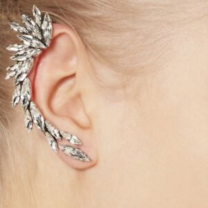Image Is Loading Shiny Stud Ear Crawler Full Rhinestone Cuff