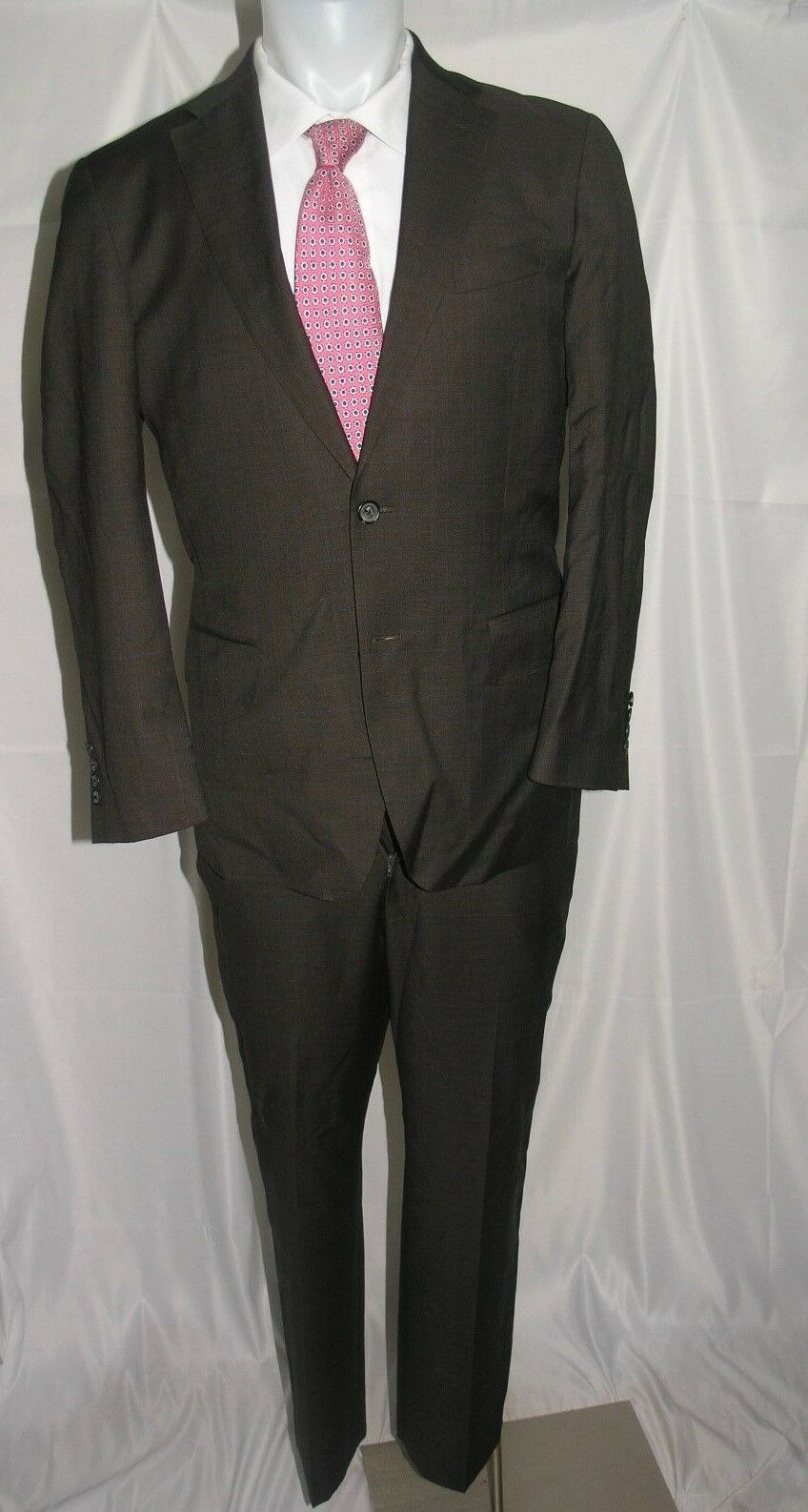 Faconnable Guabello Super 130 Two Button Flat Front Suit 40 R 36 x 30