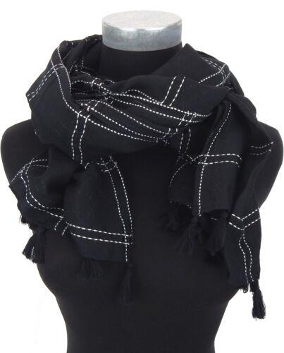 Damenschal schwarz weiß by Ella Jonte breiter Schal Quasten Baumwolle Viskose