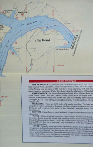 GPS Points Lake of the Ozarks West Detailed Fishing Map Waterproof #L158