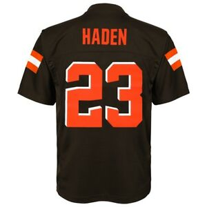 the best attitude fa0df ff6ff Details about Joe Haden NFL Cleveland Browns Mid Tier Replica Home Brown  Jersey Boys (4-7)