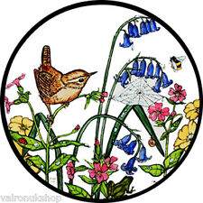 STAINED GLASS WINDOW ART STATIC CLING WREN AND BLUEBELLS