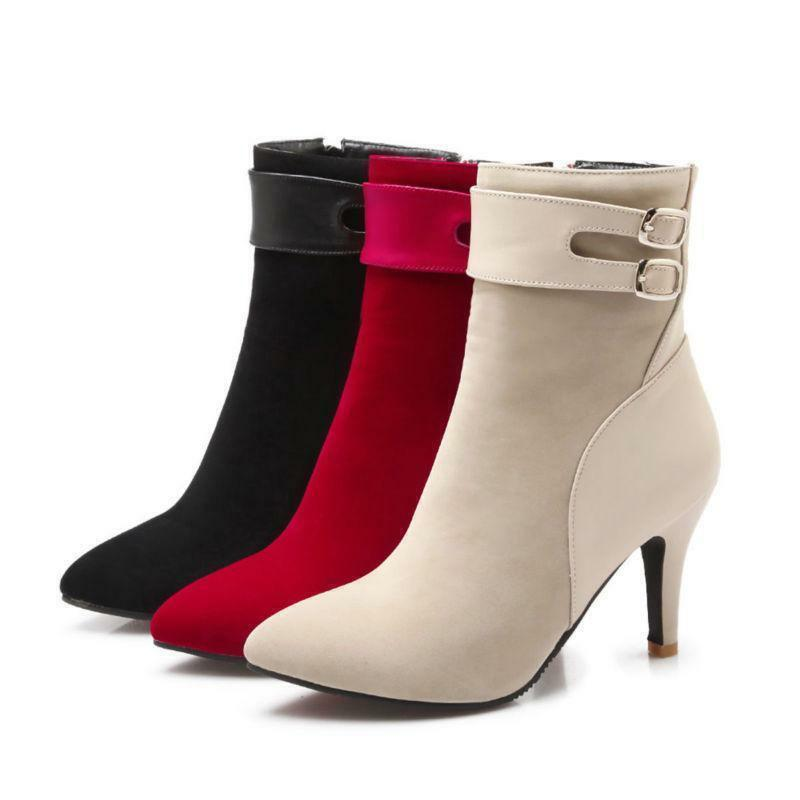 New Womens High Heel Stiletto Ankle Boot Suede Lady Pointed Toe  Zip shoes gs3