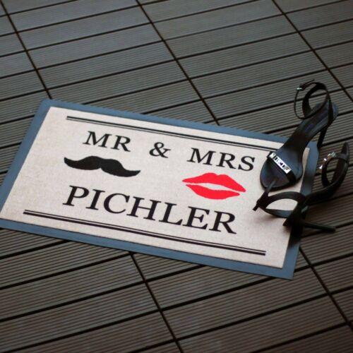 mit Wunschnamen Die persönliche Fußmatte Mr /& Mrs