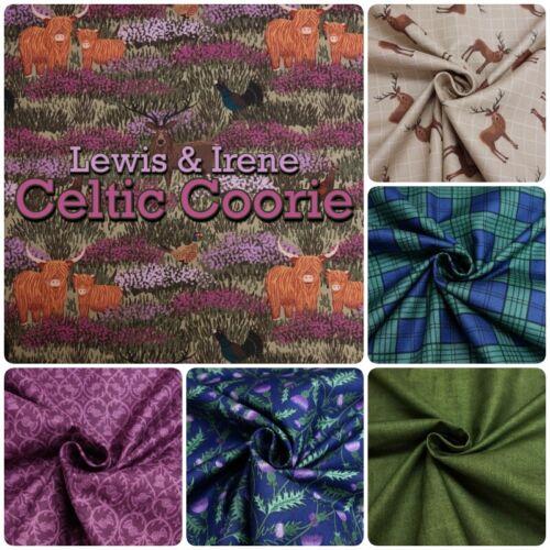 Lewis /& Irene Celta CooRie Scottish Highland Animales Algodón Tela Patchwork