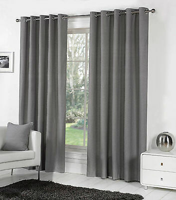 Sorbonne Plain Dyed Heavy Cotton Eyelet Ring Top Lined Curtains, Charcoal Grey
