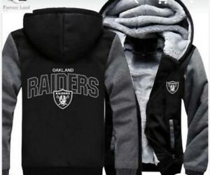 online store 64f71 cec1f Details about Oakland Raiders Football Hoodie Zip up Jacket Coat Winter  Warm Black and Gray