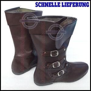 Details Schuhe Mittelalter Braun Stiefel C Lederstiefel Rüstung Ritterhelm Ritterstiefel About 8n0wNm