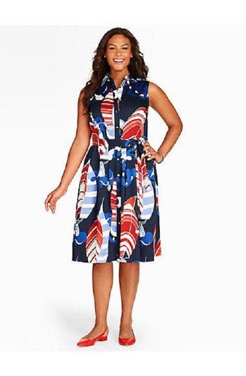 NEW  169 TALBOTS Red,White,bluee Sailboat Print Sateen Shirtdress,Dress Sz 24W