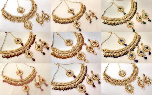 Indian Ethnic Bollywood Gold Plated Kundan Fashion Bridal Jewelry Necklace Set