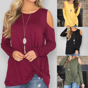00f54893a1696 Women Casual Solid Long Sleeve Cold Shoulder Knotted Hem Tunic Shirt ...