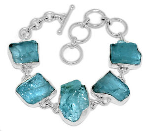 22g-Aquamarine-Rough-925-Sterling-Silver-Bracelet-Jewelry-AQRB33