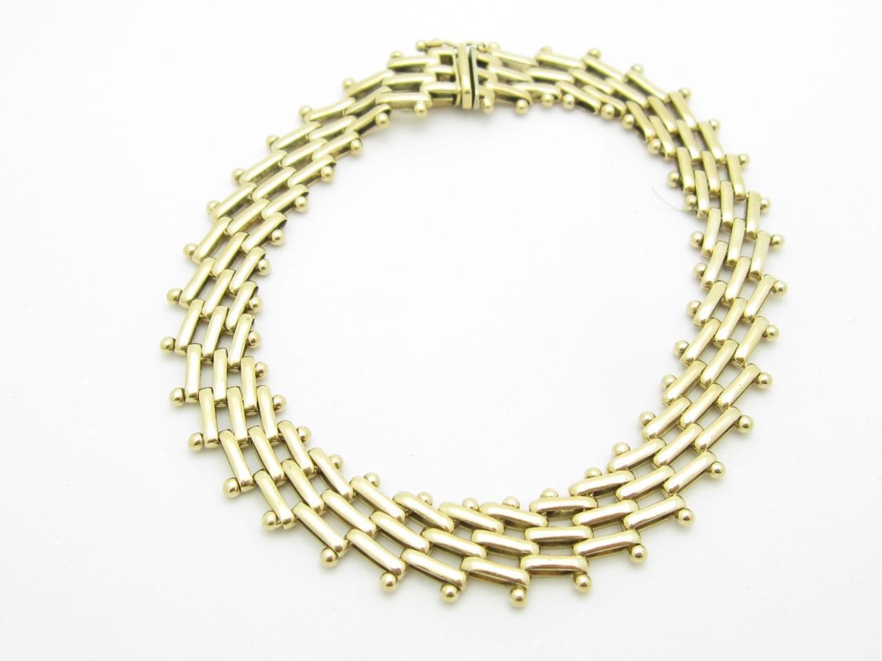 14k Yellow gold Basket Weave Chain Design 8  Length Wide Bracelet 18.0 Grams
