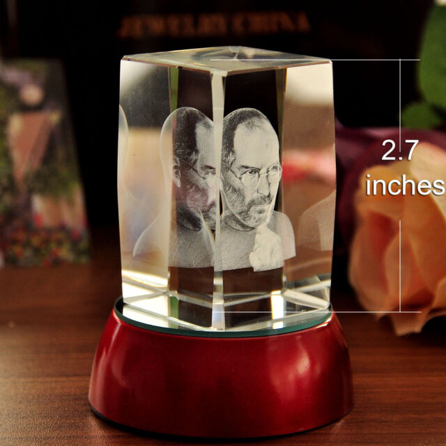 3D Laser Etched Steve Jobs Figurine Crystal Paperweight Home&Office Decor Gifts