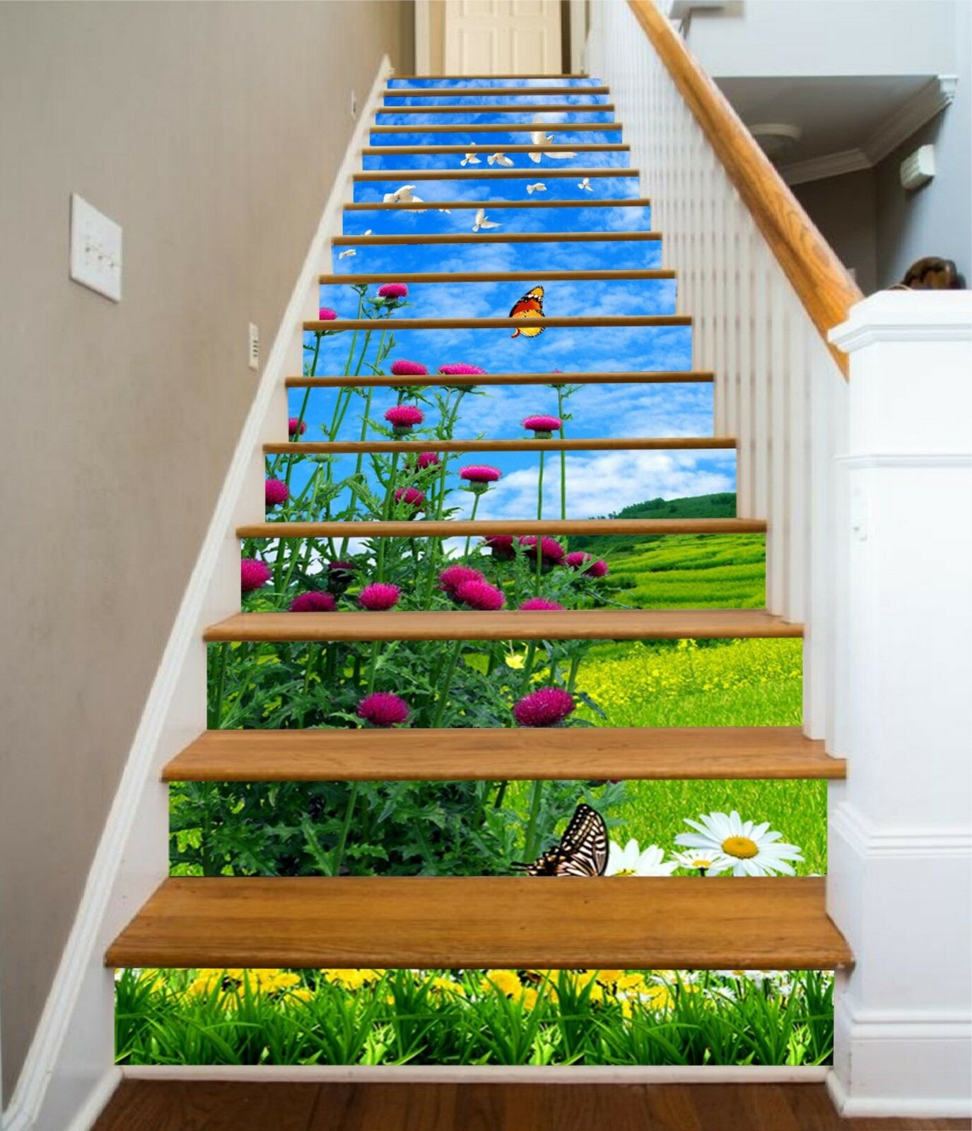 3D Meadow Flowers Stair Risers Decoration Photo Mural Vinyl Decal Wallpaper US