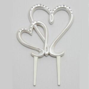 hochzeit tortendeko tortenfigur doppelherz hochzeitstorte herz kristallen perl ebay. Black Bedroom Furniture Sets. Home Design Ideas