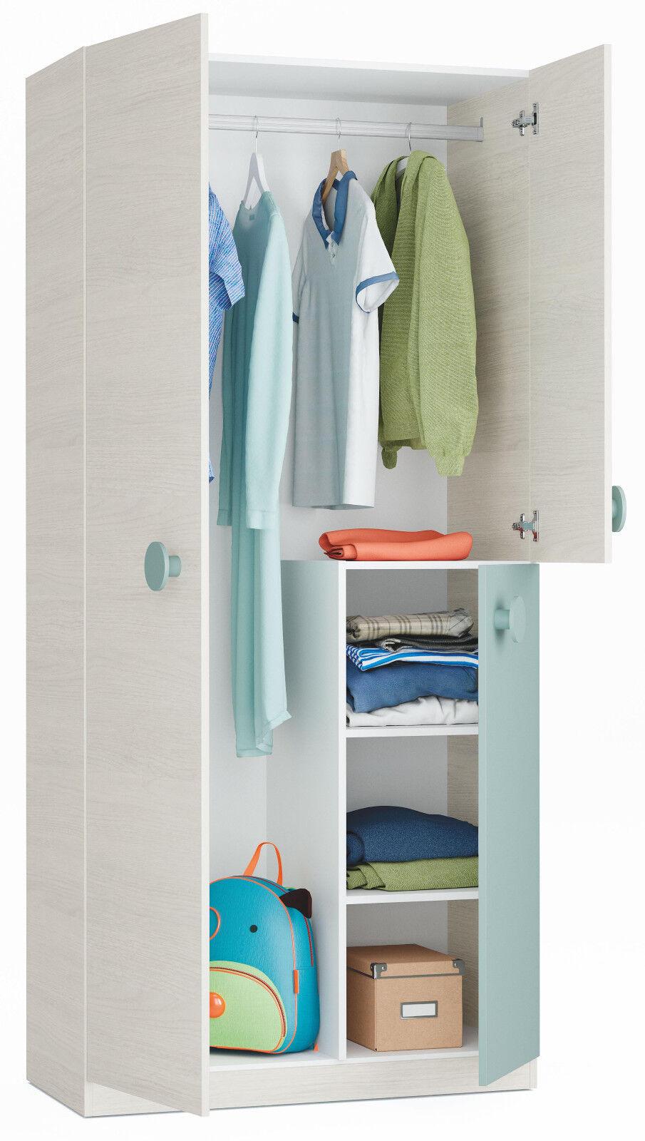 Armario juvenil dormitorio color verde y blanco 3 puertas