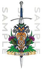 Small Scotland Thistle Celtic Sword Sticker Car Truck Van Bike Boat tool box