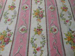 Antique-Vintage-French-Pink-Floral-Garland-Stripe-Fabric-Pink-Yellow-Lavender