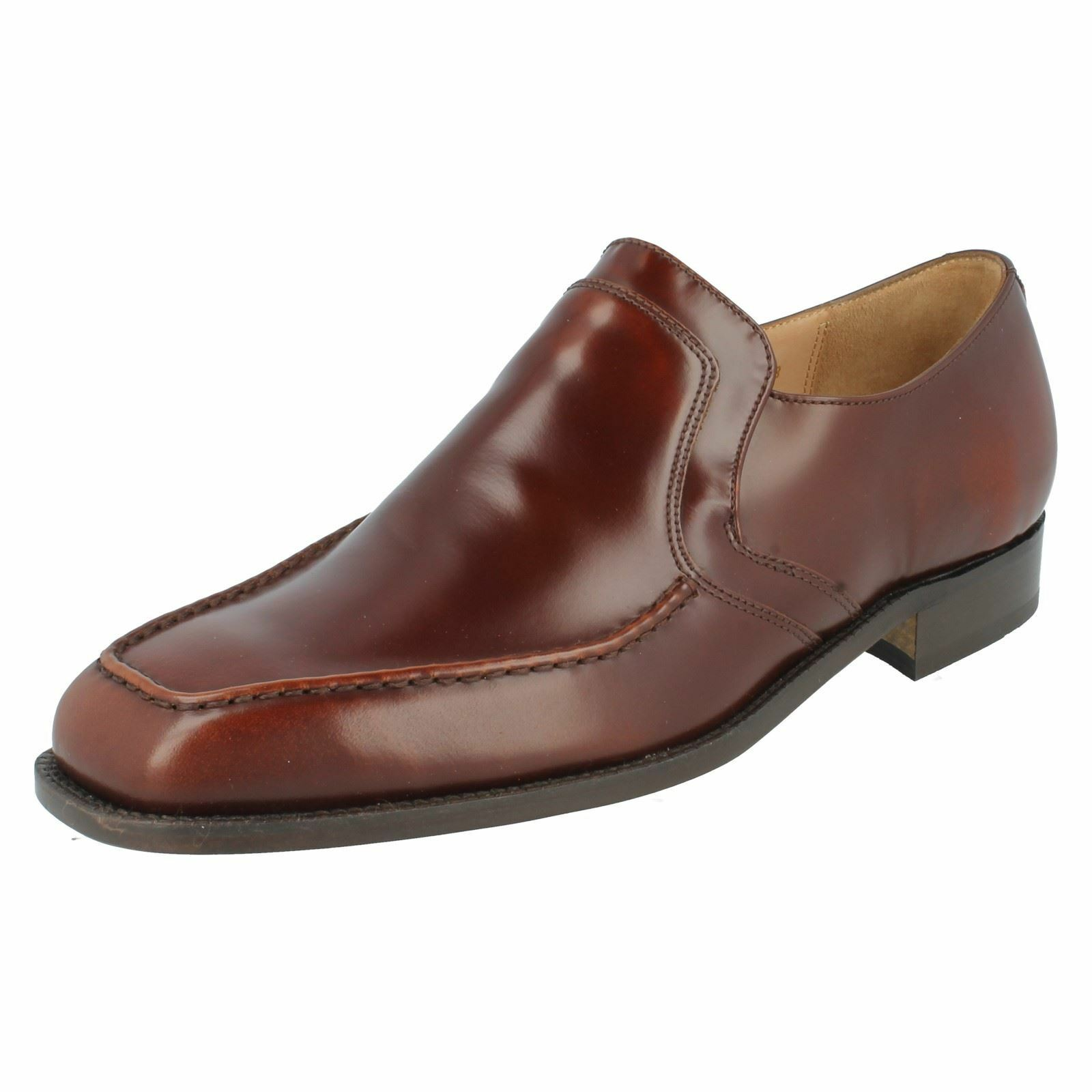 herren Dark Tan Grenson Slip On Leather Formal schuhe Ripon