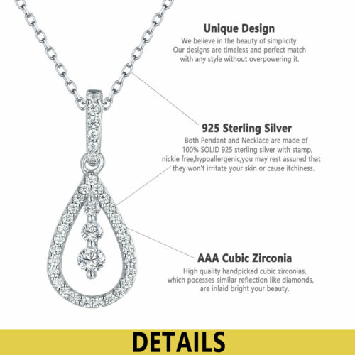 """Newshe Pendant 18/"""" Chain Necklace For Women 925 Sterling Silver Round White Cz"""