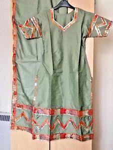 3pc Mariage Mehndi Costume Kameez Kurti Chemise Longue Avec Churidar Pyjama Taille S-afficher Le Titre D'origine Convient Aux Hommes, Femmes Et Enfants