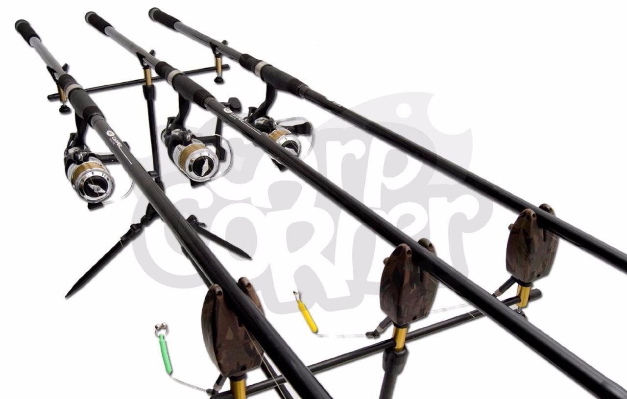 Komplett Karpfenangeln 3 X Rod And Rolle Anordnung mit Pod Indikator Bite Alarm