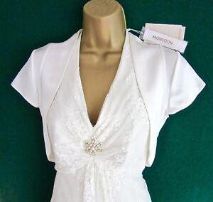 New-MONSOON-Ivory-Satin-DARCY-Bridal-Bolero-Wedding-Shrug-Jacket-Small