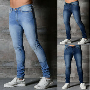 Mens Stretchy Skinny Jeans Biker Trousers Jogger Slim Fit Denim Ripped Pants New Ebay