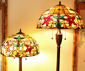 Tiffany Style Floral Table And Floor Lamp Set Handcrafted 18 Shade